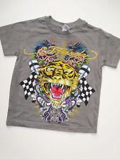NWT Boys Gray Ed Hardy Tiger Snake Short Sleeve Logo Shirt 5 6 NEW Spring Summer