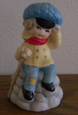 Vintage Boy Little Mountain Climber China Porcelain Bell by Jasco 1978
