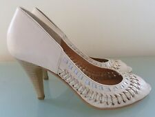 Dune Ladies Shoes 5 38 Cream Court High Heels Work Leather Occasion Summer