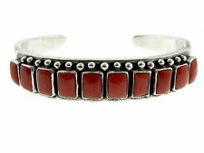 of Coral Handmade Cuff Bracelet Navajo Sterling Silver Beautiful Rectangles