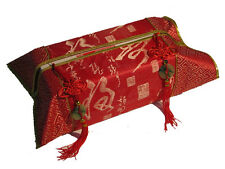 Chinese Silk Decor, Tissue Box Cover in Red with Tassles