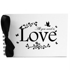 Ribbon, All You Need is Love, Photo Album, Scrapbook, Blank White Pages, A5