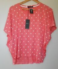 Ladies Size 12 Pink & White Dotted Short Sleeve Polyester  TShirt Blouse Top