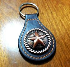 Lone Barn Star Leather Metal Key Fob Key Chain Western Rope Ring Rustic Copper
