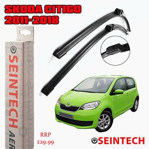 SKODA CITIGO 2011-2018 SPECIFIC FIT FRONT AND REAR WIPER BLADES + PLASTIC ARM