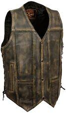 Men's Brown Distressed 10 Pocket Vest 2 X Large