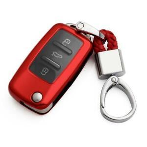 Flip Key Fob Chain For VW Jetta Golf Passat Scirocco Accessories Cover Case Red