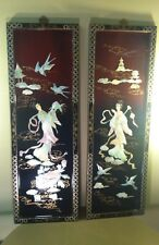 Vintage Oriental Black Lacquer Abalone Shell Panels W/Birds, Ladies, Flowers Etc
