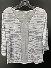 Prana Womens Medium Aleah Top Lilac White Print 3/4 Sleeves Casual Outdoor NWOT