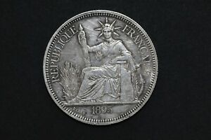 French Indo-china 1895A (27GR) Piastre Silver Coin ( Wt : 26.89 g ) C264