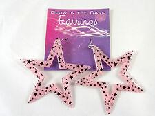 New Glow In the Dark Pink Star Acrylic Earrings #E1211