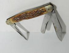 VINTAGE WESTERN 3 BLADE BONE HANDLE FOLDING POCKET HUNTING KNIFE
