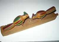 Vintage Russian Wood Toy mechanical pecking birds  peacock pheasant Fort Ross