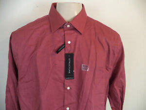 Men's  Red Structure Fitted Dress Shirt. 2XL (18-18 1/2) 34/35. 60% Cotton/ 40%