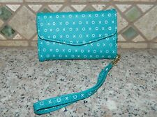 XOXO Teal White Tri Fold WRISTLET Wallet PHONE Holder Pouch