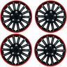 "Streetwize Car Wheel Trim Set 13"" Black Red Ring Rims Set Of 4 Hub Caps Covers"
