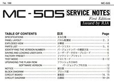 ROLAND MC-505 Schematic Diagram Service Notes Manual