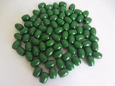 """Lot of 80 Small Green Wood Oblong Macrame Wooden Craft Jewelry Beads 3/8"""" 10mm"""