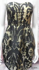 black gold brocade boned corset balloon sleeveless dress 10 New