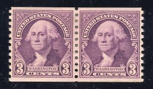 US STAMP #720 PAIR 3c WASHINGTON - VF-XF - UNUSED - GRADED 85