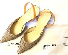 Helmut Lang Vintage Archival Tan Fish Scale Leather Rubber Band Heels w/box 39