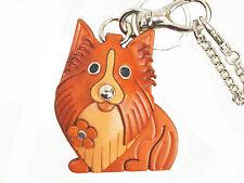 Shetland Sheepdog Leather Dog Keychain Bag Charm VANCA Made in Japan #26045