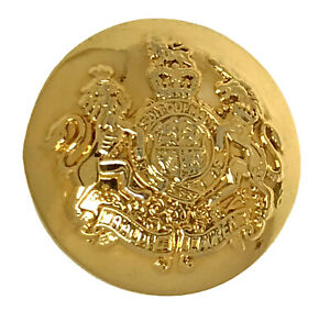 """Ralph Lauren Coat of Arms Gold tone Metal Replacement Main Front button .95"""""""
