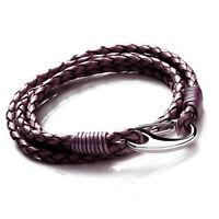 Tribal Steel 19cm Ladies Wrap-around Berry Leather Bracelet