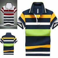 New Polo Shirt Men Striped Short Sleeve Casual Slim Fit Cotton Breathable Shirt