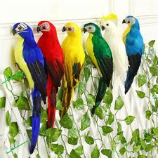 Artificial feather vivid birds parrot perched figure yard home ornament decor CA