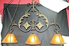 Antique Wrought Iron Three Bulb Chandelier Gothic Includes Mica Shades