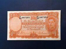 - 1939 Australia Ten 10 Shillings George VI   P  25a Orange signature -SALE!