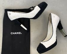 CHANEL Pumps Boucle Tweed Schwarz Damen Iconic Schuhe High Heels shoes CC GR. 38