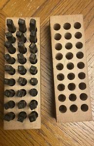 """Vintage 1/4"""" Machinist Steel Letter Tool Metal Die Punch Alphabet Stamping Set"""