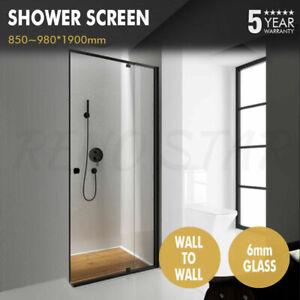 850~980*1900mm Shower Screen Black Semi Frameless Wall to Wall Open Door 6mm