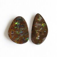 Boulder opal 12.35ct set of 2 Australian natural solid loose stone Winton parcel