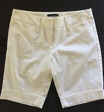 Willi Smith Women's Stretch WHITE Long Bermuda Dress Shorts Size 10 NEW