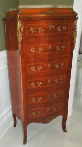 ANTIQUE BEAUTIFUL SOLID WOOD MARBLE TOP GILD BRASS FRENCH STYLE DESK CABINET