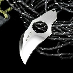 Mini Karambit Claw Knife Fixed Blade Hunting Wild Survival Tactical AUS-8 Steel