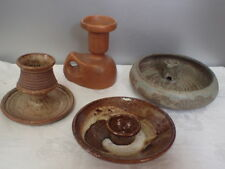 Handmade Studio Ceramic Art Pottery Brown Candle Holders Vintage Lot of 4 Signed