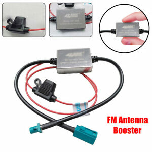 Universal 12V Car FM Radio Aerial Antenna Signal Reception Amplifier Booster Kit