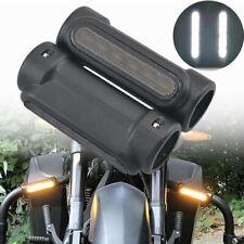 2Pcs Black Motorcycle 1.25'' Crash Bars Highway Bar Engine Guard Driving Light