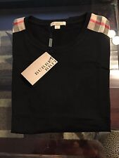New Burberry Black Patch Shoulder Plaid Nova Check Men T-shirt XXL / XL $225