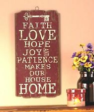 Faith Love Hope Wooden Panel Wall Hanging. FREE SHIPPING