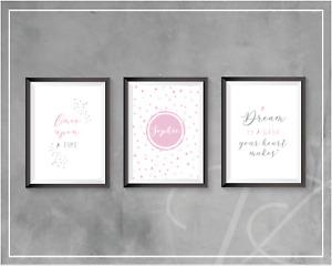 Personalised Little Girl Bedroom Princess Wall Art Nursery Pink Fairytale Prints