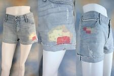 NEW $225 KORAL denim boyfriend embroidered distressed daisy dukes shorts SZ: 26