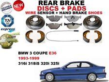 für BMW 3 E36 Coupe Bremsscheiben SET HINTEN+BELÄGE SET +Sensor+HANDBREMSE Schuh