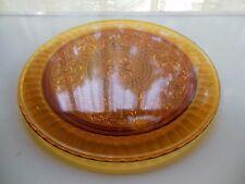 """Tiara Indiana Glass Amber Sandwich 13"""" Cake Plate Platter Tray"""