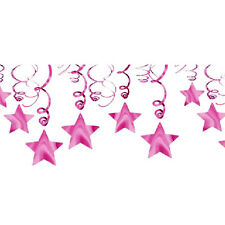 BRIGHT PINK SHOOTING STAR SWIRL DECORATIONS (30) ~ Birthday Party Supplies Foil