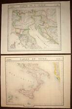 VANDERMAELEN Carte ancienne originale de L'ITALIE NAPLES SICILE 2 parties